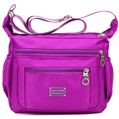 Soyater-Womens-Nylon-Crossbody-Bags-Purple-Most-Compartmented-Crossbody-Bag
