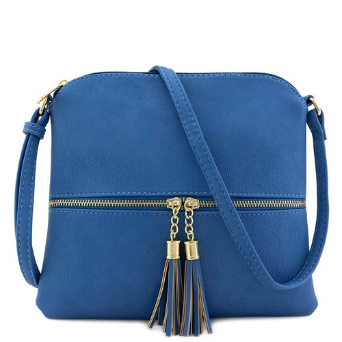 Deluxity-Lightweight-Crossbody-Bag-with-Tassel-Blue-Most-Styled-Crossbody-Bag